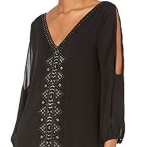 Greylin cold shoulder dress with beads  S
